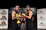 Official weigh in for the corporate and professional boxers fighting in tomorrow's event (30 March 2019), starring WBO Light Heavyweight world title contenders, Geovana Peres (L) and Lani Daniels (R). For more info, look up Glozier Boxing on Facebook. Photo / Bex Charteris/ Smash Media.