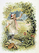 Little Red Riding Hood in the woods on her way to see her grandmother. French trade card c1900 illustrating the fairy tale by the French author Charles Perrault (1628-1703).  Literature Juvenile  Chromolithograph