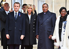 Emmanuel Macron receives heads of state at the Elysee Palace - 11 Nov 2018