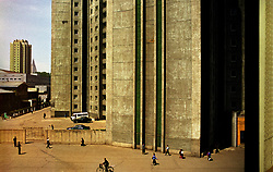 Pyongyang, North Korea, April/May 2004. Apartment blocks in the center of town. (Photo by Teun Voeten) *** Please Use Credit from Credit Field ***
