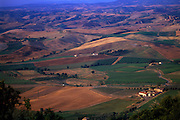 A view from atop a hill in the farmland of Tuscany, Italy