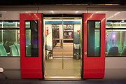A nabandoned underground train at Rotterdam Station during the lockdown period.