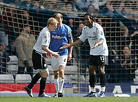 Photo: Lee Earle.<br /> Birmingham City v Chelsea. The Barclays Premiership. 01/04/2006. Chelsea's Damien Duff (L) and Didier Drogba cannot believe they failed to score.