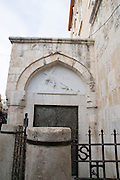 Israel, Jerusalem, Old City, the Third Station of the Via Dolorosa, Jesus falls the first time while carrying the cross