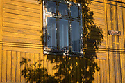 Morning sunlight on traditional wooden Polish mountain architecture, on a house in the village of Jaworki, on 22nd September 2019, in Jaworki, near Szczawnica, Malopolska, Poland.