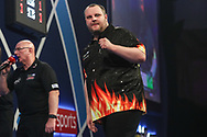 Ryan Joyce breaks James Wade's through in the last set and celebrates during the World Darts Championships 2018 at Alexandra Palace, London, United Kingdom on 28 December 2018.