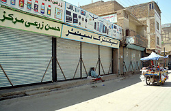 September 13, 2017 - Pakistan - QUETTA, PAKISTAN, SEP 12: Shops seen closed during shutter down strike called by .religious organizations and traders association for recovery of religious leader Maulana Ali .Muhammad Abu Turab, in Quetta on Tuesday, September 12, 2017. (Credit Image: © PPI via ZUMA Wire)