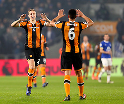 Michael Dawson of Hull City celebrates with Curtis Davies after scoring his sides first goal - Mandatory by-line: Matt McNulty/JMP - 30/12/2016 - FOOTBALL - KCom Stadium - Hull, England - Hull City v Everton - Premier League