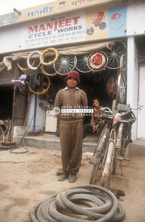 Bicycle repair shop in Punjab; India,