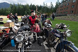 Celia Williams piped a welcoming song at the Skamania Lodge as riders pulled in after the final mile of the Motorcycle Cannonball coast to coast vintage run. Stage 15  (51 miles - the Grand Finish) from The Dalles to Stevenson, OR. Sunday September 23, 2018. Photography ©2018 Michael Lichter.