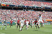 Real Madrid Midfielder Casemiro heads clear during the AON Tour 2017 match between Real Madrid and Manchester United at the Levi's Stadium, Santa Clara, USA on 23 July 2017.