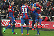 Crystal Palace's Scott Dann celebrates with team mates after scoring his sides equaliser to make it 1-1. Barclays Premier league match, Swansea city v Crystal Palace at the Liberty Stadium in Swansea, South Wales on Saturday 6th February 2016.<br /> pic by David Richards, Andrew Orchard sports photography.
