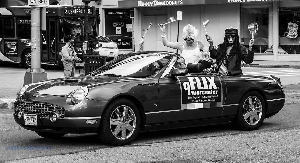 Gay Pride Parade Participants Riding in a Thunderbird convertible in Worcester, Massachusetts.