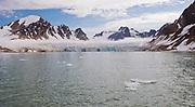 Kennedy Glacier in Smeerenburg fjord, north-western Spitsbergen, Svalbard i early August 2012.