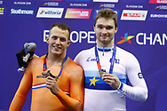 Podium, Men 1 km time trial Matthijs Buchli (Netherlands) Gold medal, Sam Ligtlee (Netherlands) Bronze medal during the Track Cycling European Championships Glasgow 2018, at Sir Chris Hoy Velodrome, in Glasgow, Great Britain, Day 3, on August 4, 2018 - Photo Luca Bettini / BettiniPhoto / ProSportsImages / DPPI