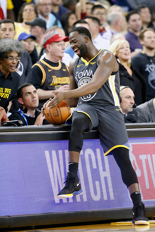 Golden State Warriors forward Draymond Green (23) in the second half of an NBA game against the Los Angeles Lakers at Oracle Arena on Saturday, Feb. 2, 2019, in Oakland, Calif. The Warriors won 115-101.