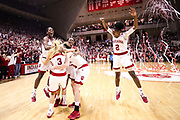 BLOOMINGTON, IN - MARCH 31, 2018 - Indiana Hoosiers Women's Basketball team celebrates during the WNIT Championship  game against the Virginia Tech Hokies and the Indiana Hoosiers at Simon Skjodt Assembly Hall in Bloomington, IN. Photo By Craig Bisacre/Indiana Athletics