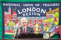 © Licensed to London News Pictures. 05/07/2016. London, UK. Shadow Chancellor JOHN MCDONNELL MP speaks at the The National Union of Teachers strike and demonstration Central London. Photo credit : Tom Nicholson/LNP