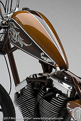 """""""Trepidation"""", a classic 124"""" S&S evo chopper built by Jesse Srpan of Raw Iron Choppers in Chardon, OH. Photographed by Michael Lichter in Sturgis, SD on August 2 2017. ©2017 Michael Lichter."""