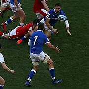Roma 13/03/2021, Stadio Olimpico<br /> Guinness Six Nations 2021<br /> Italia vs Galles<br /> <br /> Mattia Bellini in offload