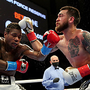 HOLLYWOOD, FL - APRIL 17:  Ortha Jones III (L) and Jorge Castaneda exchange punches at Seminole Hard Rock Hotel & Casino on April 17, 2021 in Hollywood, Florida. (Photo by Alex Menendez/Getty Images) *** Local Caption *** Ortha Jones III; Jorge Castaneda