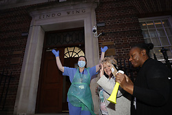 © Licensed to London News Pictures. 16/04/2020. London, UK. Nurses, doctors and emergency workers gather at St Mary's Hospital Paddington Lindo Wing to take part in the now weekly Clap for Carers celebrations. The government have announced that lockdown will continue for another three weeks. The public have been told they can only leave their homes when absolutely essential, in an attempt to fight the spread of coronavirus COVID-19 disease. Photo credit: Peter Macdiarmid/LNP