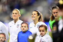 February 27, 2019 - Chester, PA, U.S. - CHESTER, PA - FEBRUARY 27: US Defender Kelly O'Hara (5) shares a laugh with US Defender Abby Dahlkemper (7) before the She Believes Cup game between Japan and the United States on February 27, 2019 at Talen Energy Stadium in Chester, PA. (Photo by Kyle Ross/Icon Sportswire) (Credit Image: © Kyle Ross/Icon SMI via ZUMA Press)