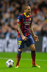 Barcelona Defender Daniel Alves (BRA) screams angrily after being penalised - Photo mandatory by-line: Rogan Thomson/JMP - Tel: 07966 386802 - 18/02/2014 - SPORT - FOOTBALL - Etihad Stadium, Manchester - Manchester City v Barcelona - UEFA Champions League, Round of 16, First leg.