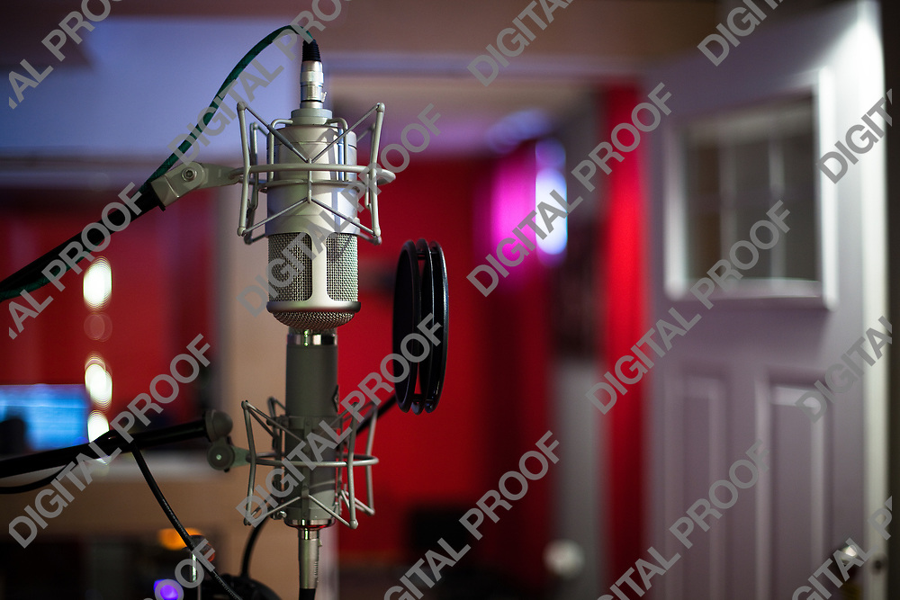 Detail of condenser microphone for vocals in music recording studio