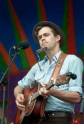 02 May 2014. New Orleans, Louisiana.<br /> Sam Doores of Hurray for the Riff Raff at the New Orleans Jazz and Heritage Festival. <br /> Photo; Charlie Varley/varleypix.com