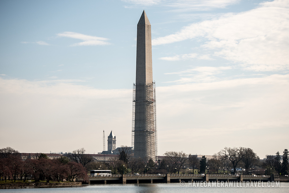 Scaffolding makes its way about half-way up the Washington Monument as repairs are started after damage occured in a 2011 earthquake.