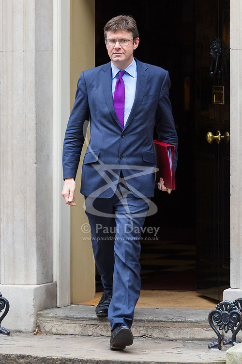 London, October 17 2017. Secretary of State for Business, Energy and Industrial Strategy Greg Clark leaves the UK cabinet meeting at Downing Street. © Paul Davey