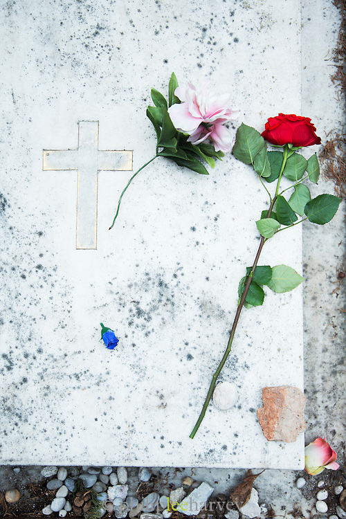 Detail of a grave in San Michele Cemetery.Venice, Italy, Europe