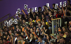 Fans of ACH Volley and Andrej Flajs at volleyball match of CEV Indesit Champions League Men 2008/2009 between ACH Volley Bled (SLO) and Beauvais Oise (FRA), on December 11, 2008 in Hala Tivoli, Ljubljana, Slovenia. (Photo by Vid Ponikvar / Sportida)