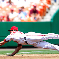 01 June 2007:  Washington Nationals third baseman Ryan Zimmerman (11) unsuccessfully dives for a double down the line hit by Pittsburgh Pirates shortstop Jack Wilson in the 2nd inning.  The Pirates defeated the Nationals 3-2 at RFK Stadium in Washington, D.C.  ****For Editorial Use Only****