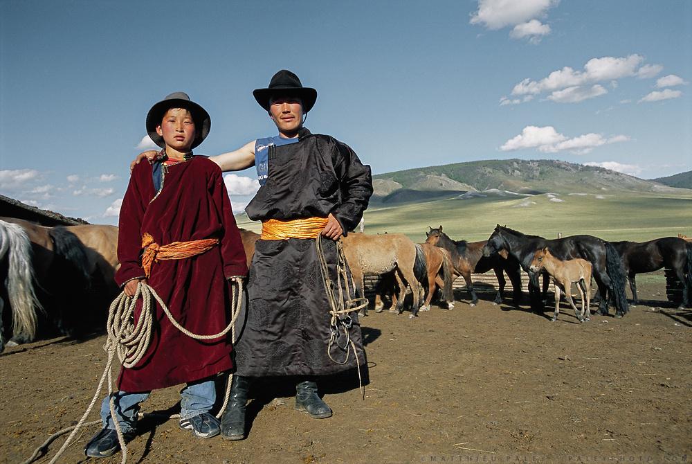 Amur Turching and his brother, both Mongolian nomadic herders. Near Moron town, Khövsgöl province.