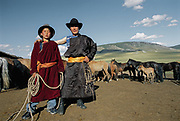 Amur Turching and his brother, both Mongolian nomadic herders. Near Moron town, Khövsgöl province.