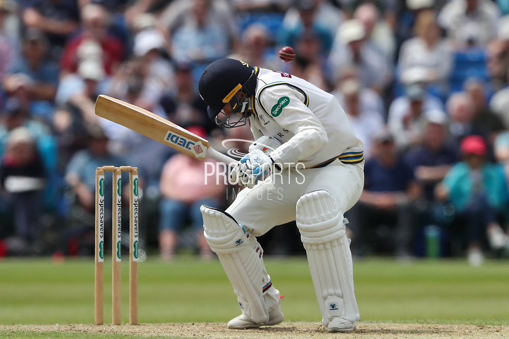 Ben Coad of Yorkshire takes evasive action from a short ball during the Specsavers County Champ Div 1 match between Yorkshire County Cricket Club and Warwickshire County Cricket Club at York Cricket Club, York, United Kingdom on 18 June 2019.
