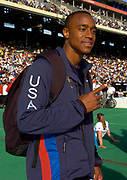 Jon Drummond poses at the 110th Penn Relays at  the University of Pennsylvania's Franklin Field on Saturday, April 24, 2004 in Philadelphia. Drummond, 35, a Philadelphia native first competed in the meet in the fourth grade, junior high, high school, college and as an open competitor in 14 of the last 15 years.