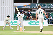 Tony Palladino flicks a catch to square leg off Will Davis during the Specsavers County Champ Div 2 match between Leicestershire County Cricket Club and Derbyshire County Cricket Club at the Fischer County Ground, Grace Road, Leicester, United Kingdom on 27 May 2019.