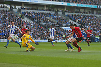 Football - 2018 / 2019 Premier League - Brighton and Hove Albion vs. Southampton<br /> <br /> Southampton's Pierre-Emile Hojbjerg slots the ball past Mathew Ryan of Brighton to open the scoring at The Amex Stadium Brighton <br /> <br /> COLORSPORT/SHAUN BOGGUST