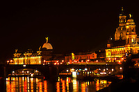 Views along the Elbe River of the old city in Dresden, Saxony, Germany