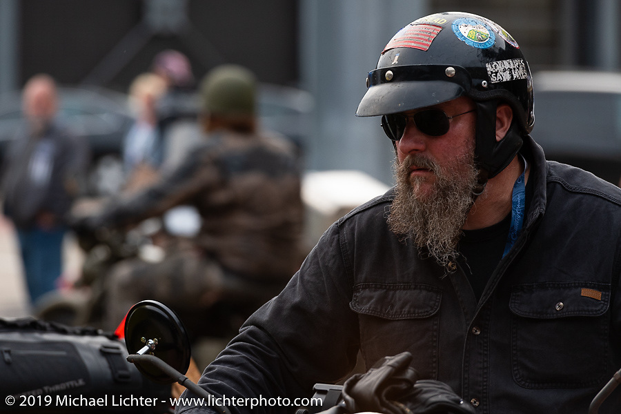 Matt Miller riding his 1947 Harley-Davidson Model U Flathead in the Cross Country Chase motorcycle endurance run from Sault Sainte Marie, MI to Key West, FL (for vintage bikes from 1930-1948). Stage 2 from Ludington, MI to Milwaukee, WI, USA. Saturday, September 7, 2019. Photography ©2019 Michael Lichter.