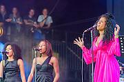 Kelis performs on the Pyramid Stage. The 2014 Glastonbury Festival, Worthy Farm, Glastonbury. 28 June 2013.
