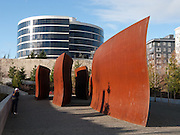 """""""Wake"""" 2004 by Richard Serra (born 1939) constructed of steel, in Olympic Sculpture Park (opened 2007), the southern end of Myrtle Edwards Park, Seattle, Washington, USA"""