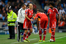 Bayern Forward Arjen Robben (NED) takes a drink after scoring a goal during the second half of the match - Photo mandatory by-line: Rogan Thomson/JMP - Tel: Mobile: 07966 386802 - 02/10/2013 - SPORT - FOOTBALL - Etihad Stadium, Manchester - Manchester City v Bayern Munich - UEFA Champions League Group D.