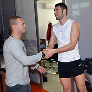 New Signing Wesley Sneijder (C) of Galatasaray with Galatasaray's Burak Yilmaz (R) at the Florya Metin Oktay Sports Centert in Istanbul Turkey on Tuesday 22 January 2013. Photo by TURKPIX