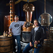 Rick Couch, left, and Carus Waggoner with their fortune teller themed custom distiller at Second Sight Spirits in Ludlow, Kentucky. Nathan Lambrecht/Journal Communications