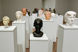 © Licensed to London News Pictures. 08/05/2017. London, UK. 20 spectacular busts welcoming visitors to the exhibition. Preview of the UK's first major retrospective of Alberto Giacometti for 20 years at Tate Modern.  The exhibition runs 10 May to 10 September 2017. Photo credit : Stephen Chung/LNP