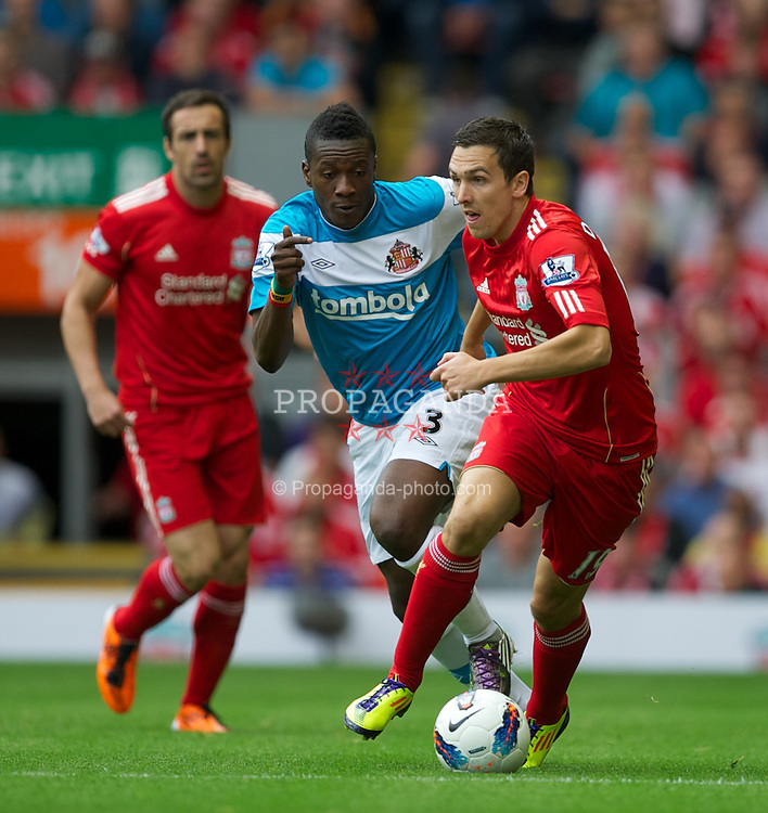 LIVERPOOL, ENGLAND - Saturday, August 13, 2011: Liverpool's Stewart Downing in action against Sunderland during the Premiership match at Anfield. (Pic by David Rawcliffe/Propaganda)